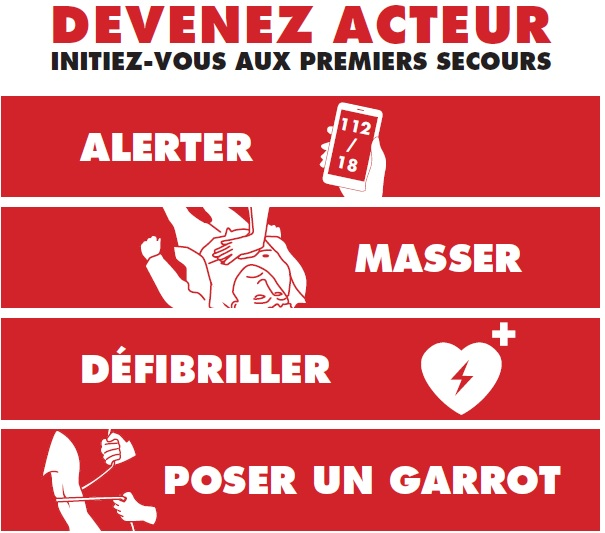 Initiation secourisme attentat allerter masser defibriller garrot